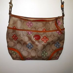 Coach Signature And Floral Print Leather Crossbody
